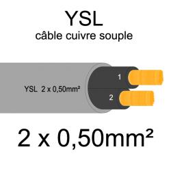 câble cuivre souple isolé PVC gris série YSL 2 conducteurs 0.50mm²