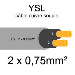 câble cuivre souple isolé PVC gris série YSL 2 conducteurs 0.75mm²