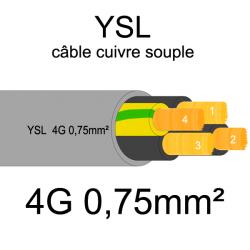 câble cuivre souple isolé PVC gris série YSL 4 conducteurs 0.75mm²