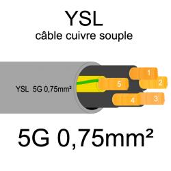câble cuivre souple isolé PVC gris série YSL 5 conducteurs 0.75mm²
