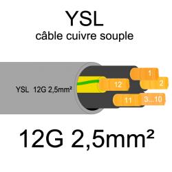 câble cuivre souple isolé PVC gris série YSL 12 conducteurs 2.5mm²