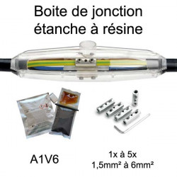boite étanche pour  jonction de câble électrique avec résine étanche et connecteurs électriques A1V6