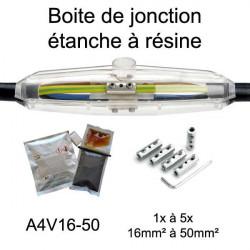 boite étanche pour  jonction de câble électrique avec résine étanche et connecteurs électriques A4V16-50