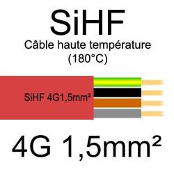 câble électrique cuivre souple isolé silicone SIHF 4 conducteurs 1.5mm²