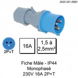 prise industrielle mâle monophasée 3 pôles calibre 16A
