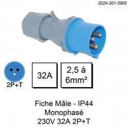 prise industrielle mâle monophasée 3 pôles calibre 32A