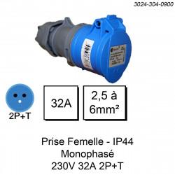 prise industrielle femelle monophasée 3 pôles calibre 32A