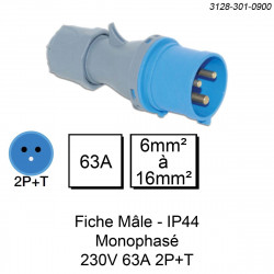 prise industrielle mâle monophasée 3 pôles calibre 63A