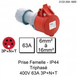 prise industrielle femelle triphasée 4 pôles calibre 63A