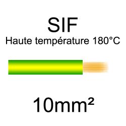 fil cuivre souple isolé silicone 10mm2 vert jaune