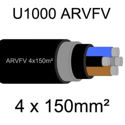 câble électrique armé aluminium ARVFV 4 conducteurs 150mm²