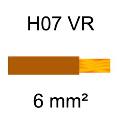 fil de câblage cuivre rigide H07VU 6mm² marron brun