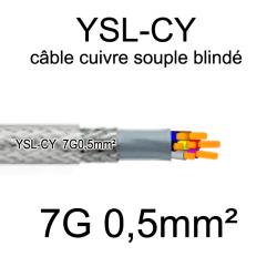 câble électrique cuivre souple blindé YSL-CY 7 conducteurs 0.5mm²