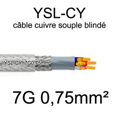 câble électrique cuivre souple blindé YSL-CY 7 conducteurs 0.75mm²