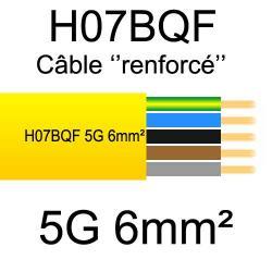 câble cuivre souple isolé PUR Polyuréthane 5 conducteurs 6mm²