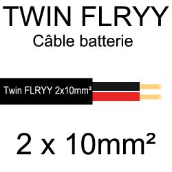 câble électrique souple spécial batterie 2 conducteurs rouge et noir 10mm²