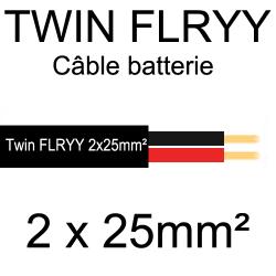 câble électrique souple spécial batterie 2 conducteurs rouge et noir 25mm²
