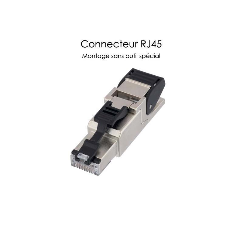 Connecteur RJ45 pour câble réseau Ethernet à montage sans outil spécifique