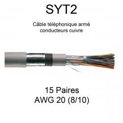 câble téléphone armé SYT2 15 paires AWG20 8/10