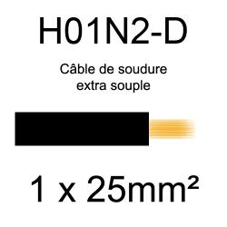 câble électrique pour poste à souder H01N2D 25mm²