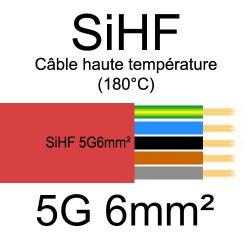 câble électrique cuivre souple isolé silicone SIHF 5 conducteurs 6mm²