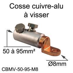 cosse bimétal cuivre alu à visser 95mm² trou M8