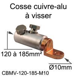 cosse bimétal cuivre alu à visser 185mm² trou M10