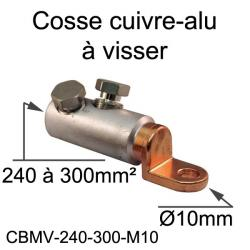 cosse bimétal cuivre alu à visser 300mm² trou M10