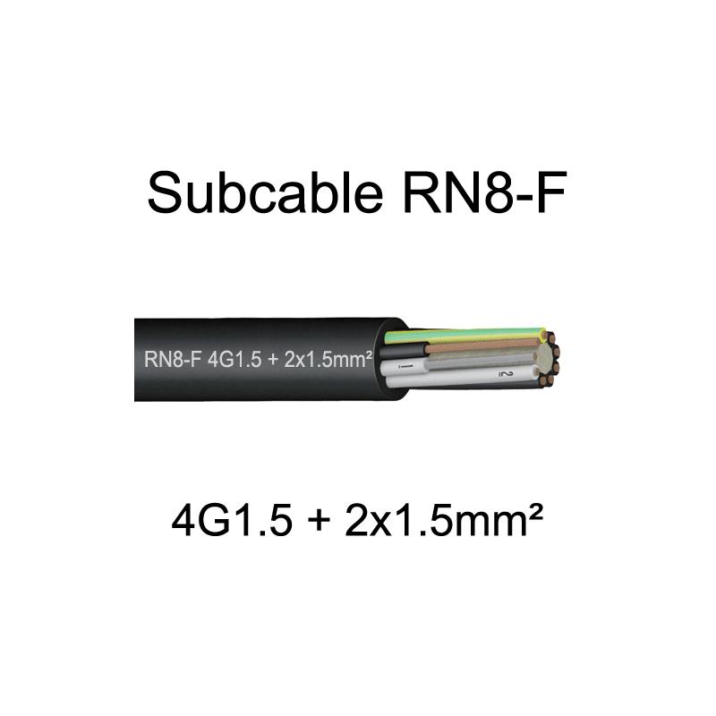 câble cuivre souple étanche immergeable submersible RN8F 4G1.5+2x1.5mm²