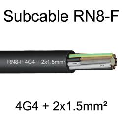 câble cuivre souple étanche immergeable submersible RN8F 4G4+2x1.5mm²