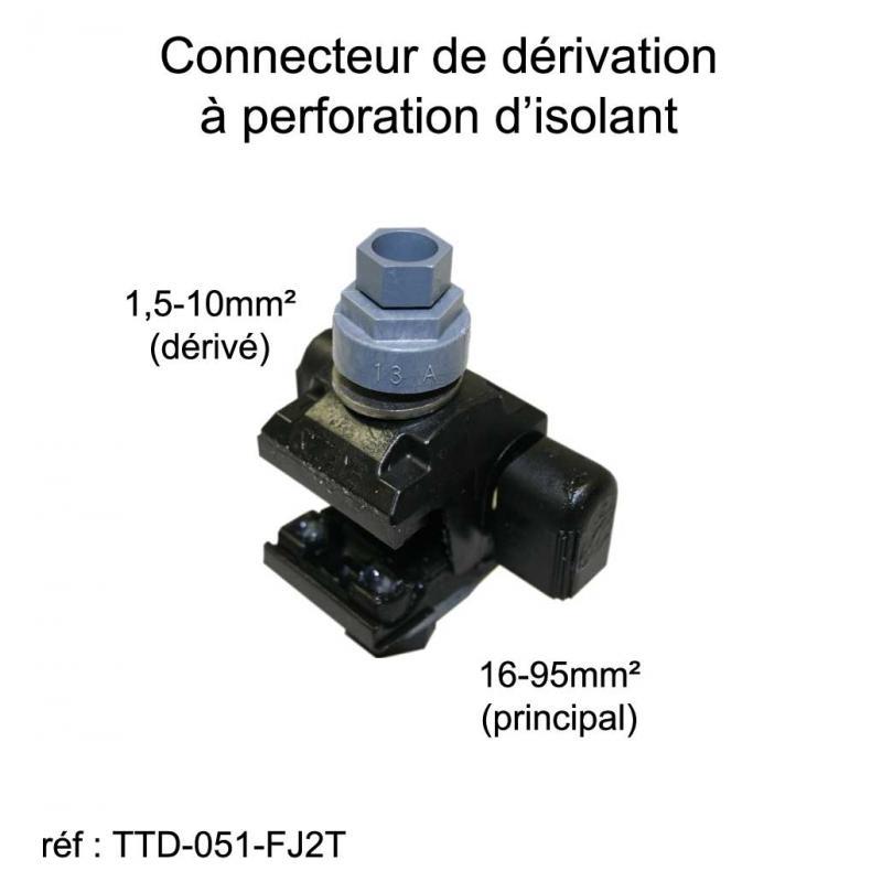 Connecteur de dérivation à perforation d'isolant