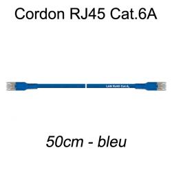 Câble Ethernet RJ45 cat 6a 50cm bleu