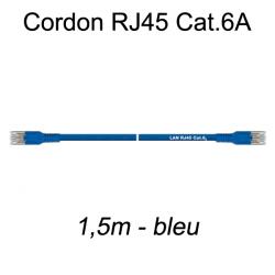 Câble Ethernet RJ45 cat 6a 1,5m bleu