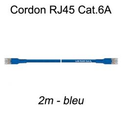 Câble Ethernet RJ45 cat 6a 2m bleu