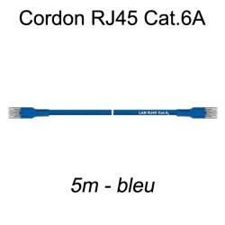 Câble Ethernet RJ45 cat 6a 5m bleu
