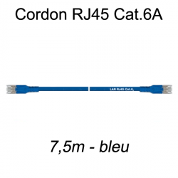 Câble Ethernet RJ45 cat 6a 7,5m bleu