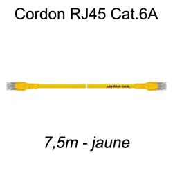 Câble Ethernet RJ45 cat 6a 7,5m jaune