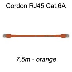 Câble Ethernet RJ45 cat 6a 7,5m orange
