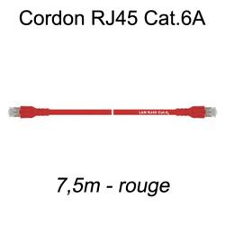 Câble Ethernet RJ45 cat 6a 7,5m rouge
