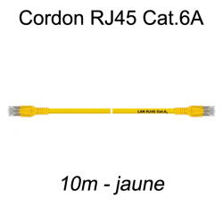 Câble Ethernet RJ45 cat 6a 10m jaune
