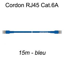 Câble Ethernet RJ45 cat 6a 15m bleu