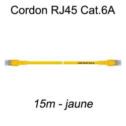 Câble Ethernet RJ45 cat 6a 15m jaune
