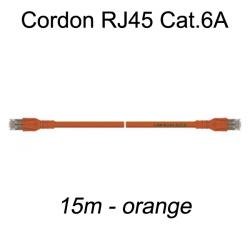 Câble Ethernet RJ45 cat 6a 15m orange