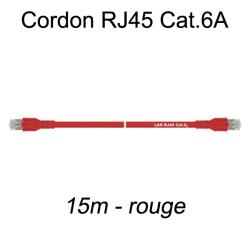 Câble Ethernet RJ45 cat 6a 15m rouge