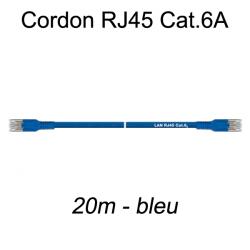 Câble Ethernet RJ45 cat 6a 20m bleu