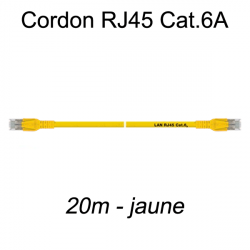 Câble Ethernet RJ45 cat 6a 20m jaune
