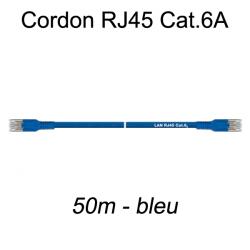 Câble Ethernet RJ45 cat 6a 50m bleu