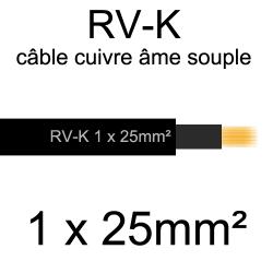 câble électrique âme cuivre souple série RV-K 1 conducteur 25mm2