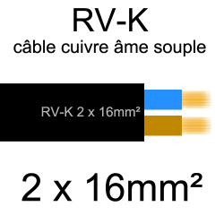 câble électrique âme cuivre souple série RVK 2 conducteurs 16mm2