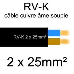 câble électrique âme cuivre souple série RVK 2 conducteurs 25mm2